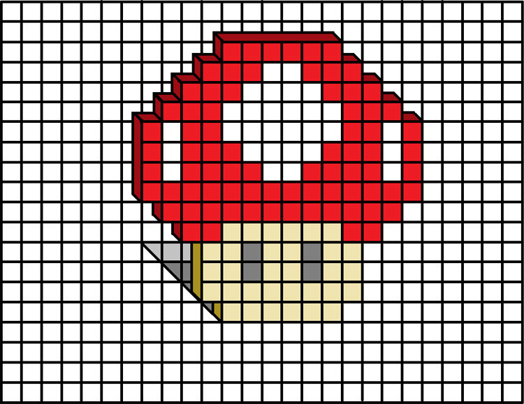3Dドット絵 キノコ