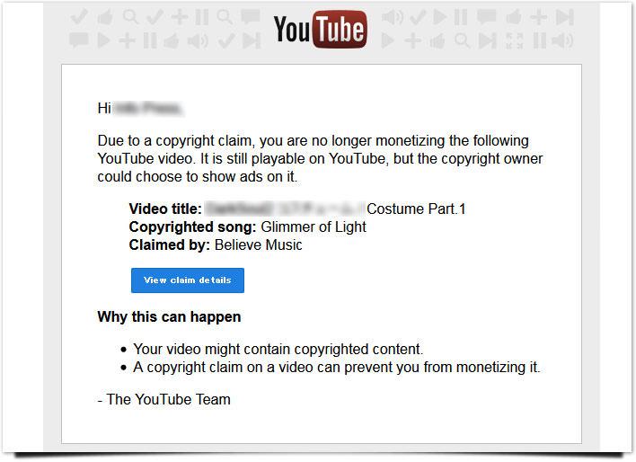 Youtube著作権違反メール