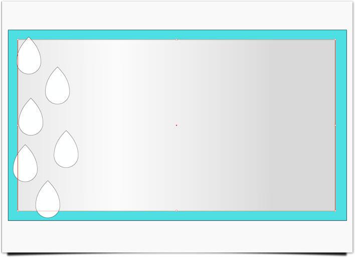 ドロップレイン しずく形の上に短形を配置