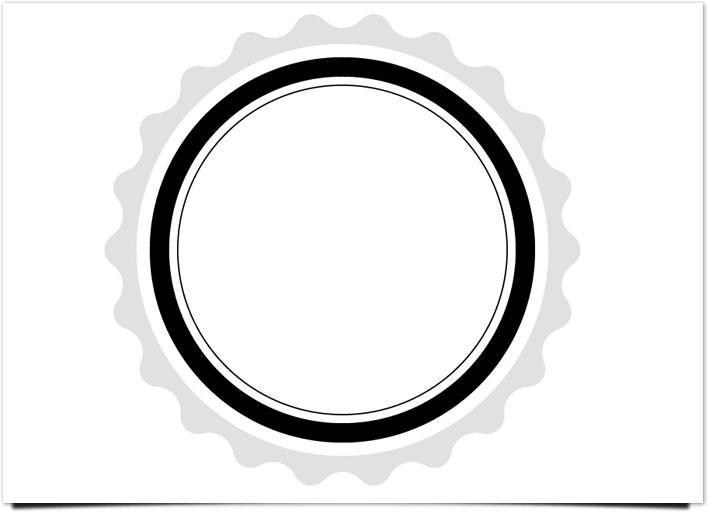 レトロ ロゴ 白い大きなリング