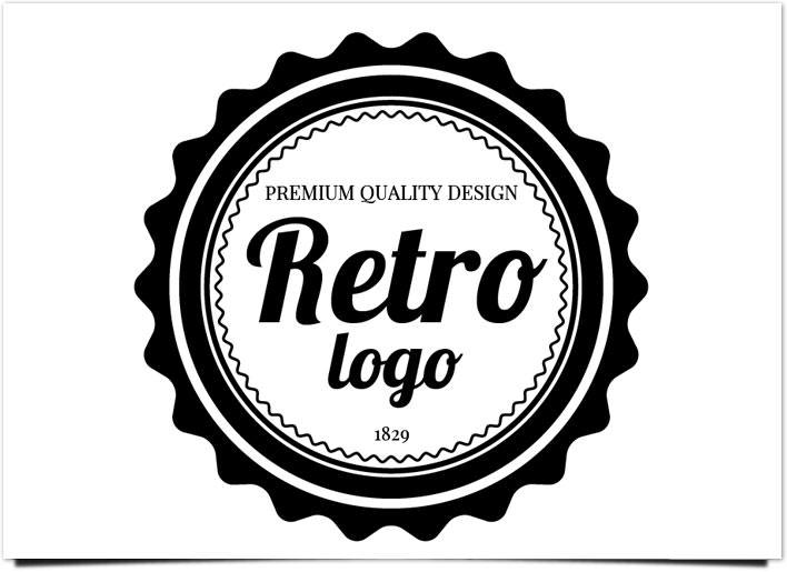 レトロ ロゴ テキストの挿入