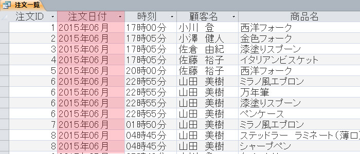 Format関数 年月日 実行例