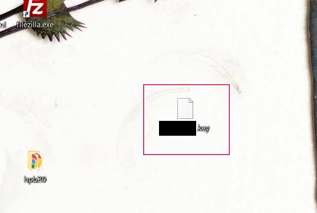 作成した公開鍵をデスクトップに保存