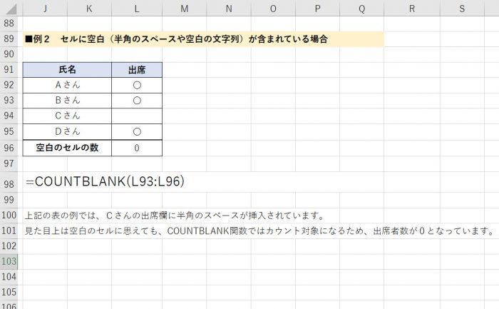 COUNTBLANK関数 セルにスペースや空白の文字列が含まれている場合