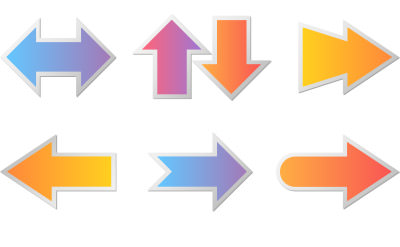カラフルなグラデーションの太矢印
