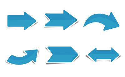 シンプルなブルーの影付きの矢印(6)