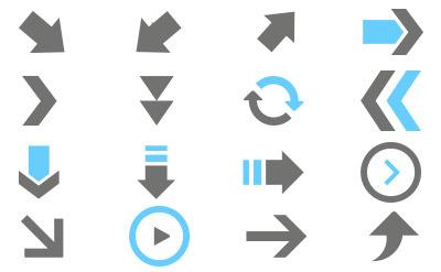 水色のアクセントが目を引くシンプルな矢印(46)