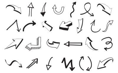 やや立体的な手書き風矢印(40)
