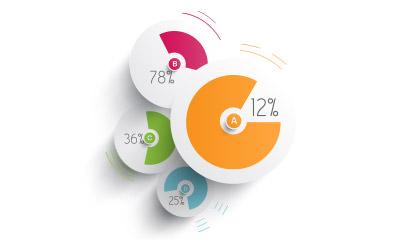 円形の折り重なりが目を引くデザイン的にも面白いパイチャート
