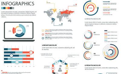 半円や真円、グローバルな地図などでデザインされたグラフセット