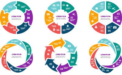 色々な円形のデザインで表現されたグラフセット