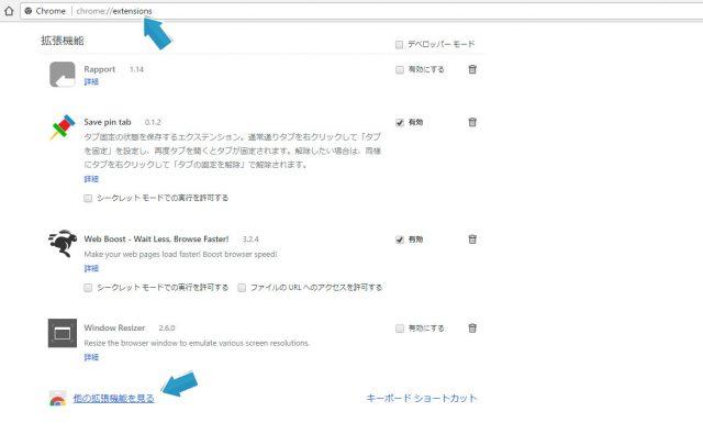 Google Chormeのエクステンション