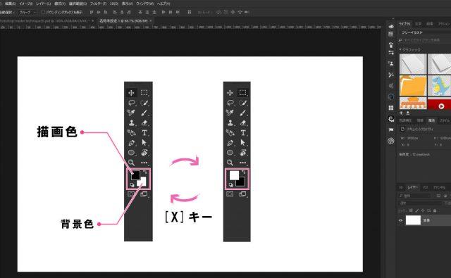 描画色と背景色を素早く切り替える方法