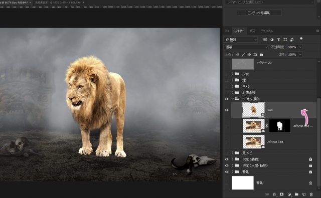 ライオンの切り抜き