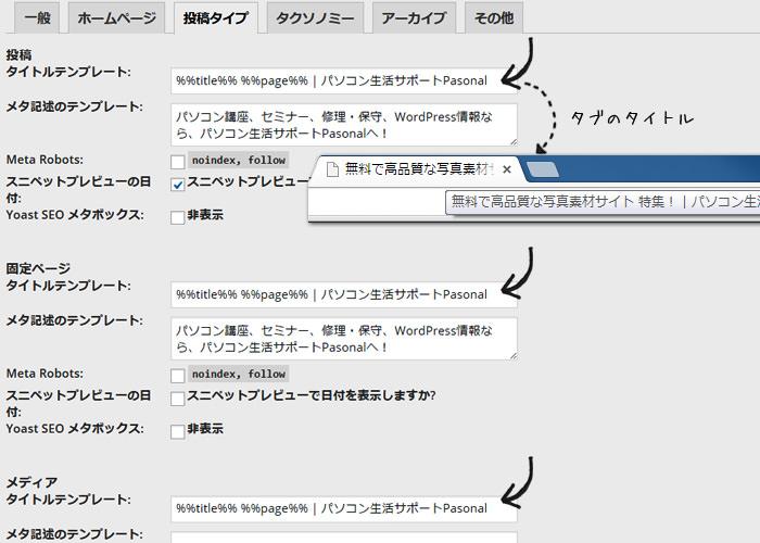 WordPress seo 設定方法 タイトル編 テンプレート設定