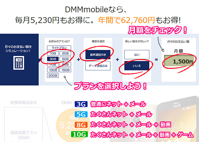 DMM mobileページで申し込み