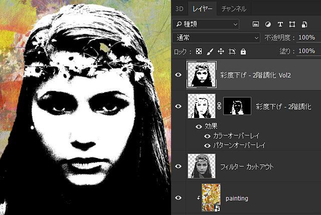 Portraitコピー&彩度下げ&2階調化