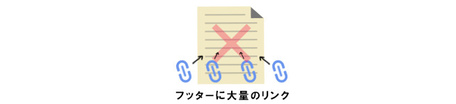 ページのフッターに大量にリンクを設置するのはNG