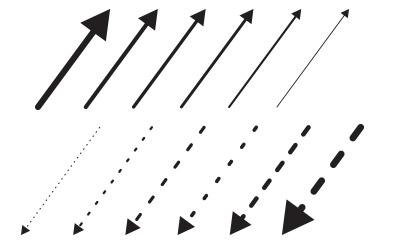 すごーくシンプルな点線と実線の矢印(12)