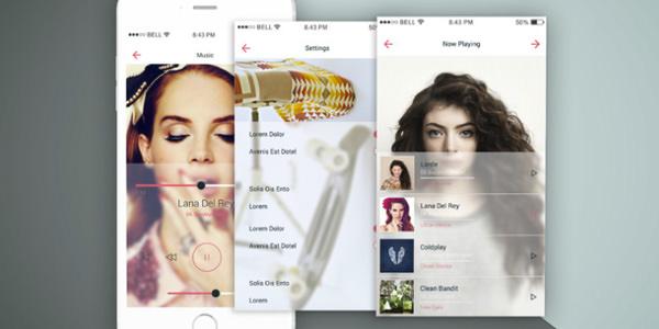 iPhoneのアプリケーション用のモックアップ