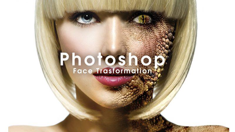 Photoshop 顔をリザードに変形させるレタッチ