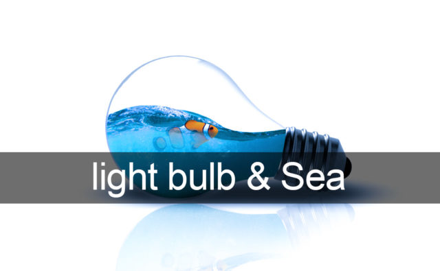 Photoshop light bulb and Sea / 電球と海