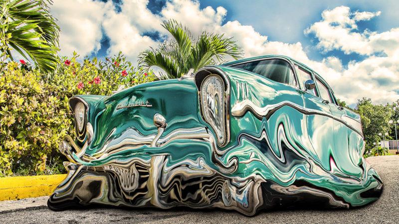 Photoshop liquid Car / 液体化する車 のチュートリアルの完成図